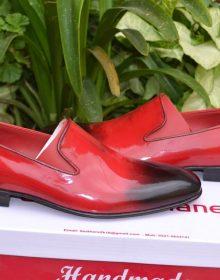 Handmade Men's two tone burgundy tassel loafers, Spring men's leather shoes