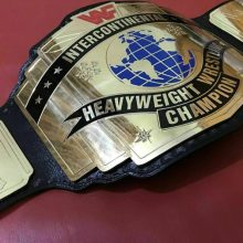 WWF Intercontinental Red Logo Championship Wrestling Title Belt Brass ZInc Plates