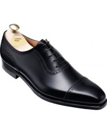 Handmade Men Black derby shoes, Black Burnished Calf, Men formal dress shoes