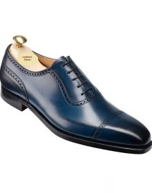 Handmade Men Blue derby shoes, Blue Burnished Calf, Men formal dress shoes