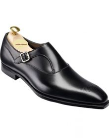 Handmade Men Black Shoes, Single Monk Strap Shoes, Men Formal Monk Shoes