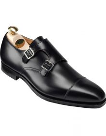 Handmade Men Black Shoes, Double Monk Strap Shoes, Men Formal Monk Shoes