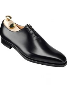 New Handmade whole-cut oxford Men Shoes in Black fine calf leather