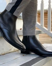 Handmade Men High Ankle Leather Black Boots for All Seasons