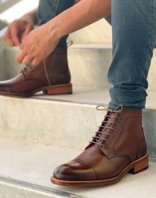 Handmade Men High Ankle Leather Brown Boots for All Season