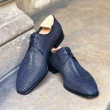 Handmade Men Blue Shagreen Stingray Fish leather Oxford shoes