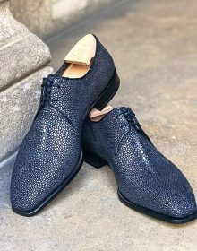 Handmade Men Blue Shagreen Stingray Fish leather Oxford shoes