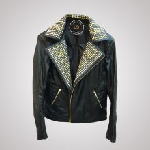 Hanmade Golden and Silver Studded Black Fashionable Leather Jacket