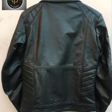 Hanmade Golden and Silver Studded Black Fashionable Leather Jacket Back