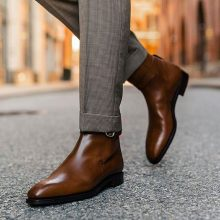 Handmade Cowhide Leather Jodhpur Brown Boots For Men
