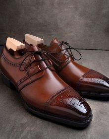 Handmade Tan french calf and black patina Formal shoes for men