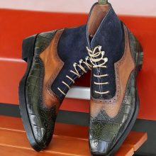 Handmade Three Tone Wingtip Boots Rubber Sole