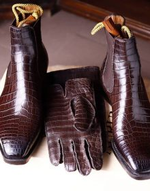 Handmade Crocodile Texture High Ankle on Oxblood color boots for men