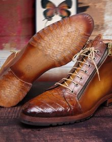 Handmade Crocodile Texture High Ankle Brown Boots for men