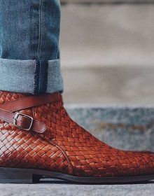Handmade Cowhide Leather Dylan Boot in Woven for men