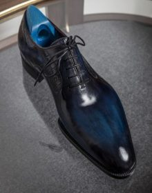 Handmade Cowhide Leather Blue pointed Toe Formal Shoes for Men