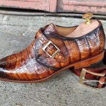 Handmade Luxury Crocodile Texture Men Formal shoes in Two tone