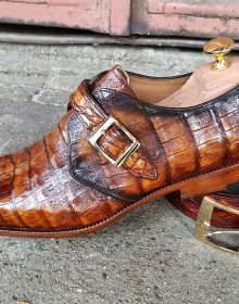 Handmade Luxury Crocodile Texture Men Formal shoes in Two tone