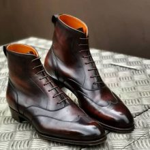 New Handmade Cowhide Leather Burgundy High Ankle Boot