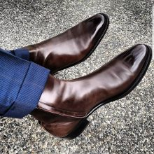 Handmade Men Wingtip Cap Toe Boots Leather Boot, men Chelsea Boot