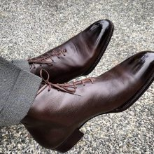 New Handmade Cowhide Leather Dark Brown Cap toe Chukka Boots for men