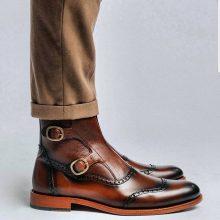 Handmade Men Wingtip Cap Toe Brown Boot, men ankle shoes