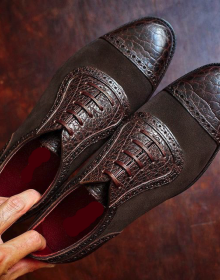 New Handmade Crocodile and Suede Leather Oxford shoes in Ox Blood for men