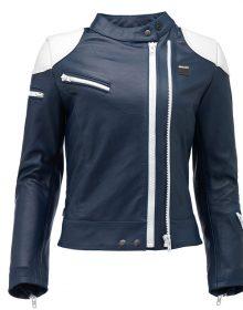 Women's Custom Made Blauer Charlie Lady Blue & White Color 100% Pure Cowhide Leather Fashion Biker Jacket