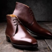 New Handmade Cowhide Leather Brown Chukka Boots for men