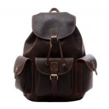 DISTRESSED BROWN LEATHER BACKPACK
