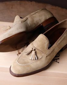 New Handmade Tassel loafer with an incredible reverse suede baby calf for men