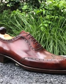 New handmade Wing-Tip brogue Brown Shoes for men