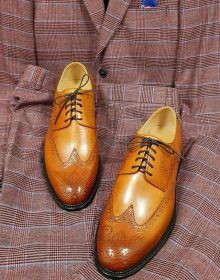 New Handmade Cowhide Leather Tan Color Oxford shoes for men