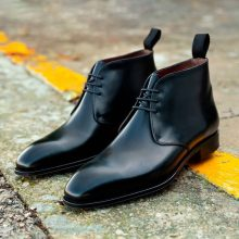 New Handmade Cowhide Leather Men's Shiny Black elegant Chukka boots