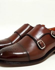 New Handmade Cowhide Leather Double Monk Shoes for Men