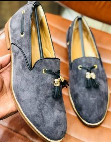 New Handmade Tassel loafer in cowhide gray leather for men, summer shoes
