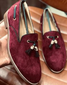 New Handmade Tassel loafer in cowhide Maroon leather for men, summer shoes