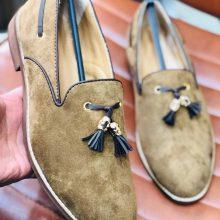 New Handmade Tassel loafer in cowhide leather in Beige Color for men, summer shoes