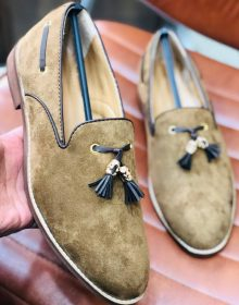 New Handmade Tassel loafer in cowhide leather in Beige Color for men, summer shoes