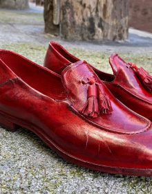 New Handmade Tassel loafer in cowhide leather Burgundy Color for men, summer shoes