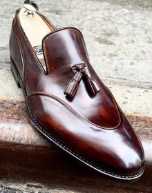 Men,S New Handmade Classic Dark Brown Leather Shoes With Tassels Style, Luxury Shoes, Summer Shoes