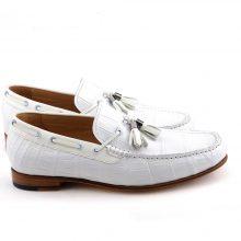 New Handmade Crocodile Texture White Tassel Loafer Shoes for Men