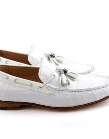 New Handmade Crocodile Texture White Tassel Loafer Shoes for Men