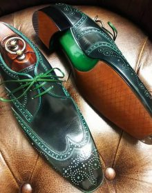 New Handmade cowhide leather wing tip brogue shoes for men