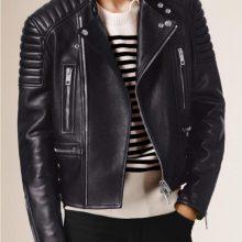 Handmade Men's Lambskin Leather Biker Quilted Jacket, Men's Brown Leather Jacket