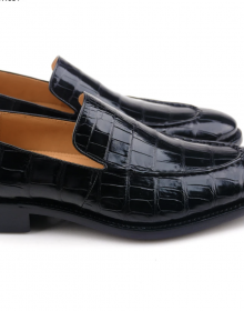 New Handmade Crocodile Texture Black Tassel Loafer Shoes for Men
