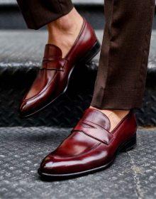 Handmade Men Burgundy Color Cowhide Leather Penny Loafer
